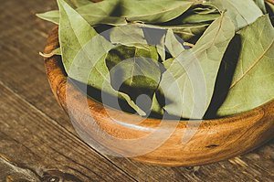 bay leaf in a wooden plate/bay leaf in a wooden plate on a wooden background. Close up