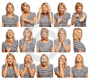 Set of images of a young woman with different emotions, white background, close-up