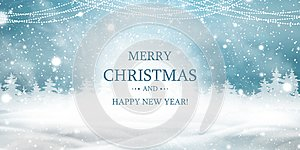 Merry Christmas. Happy new year. Natural Winter Christmas background with blue sky, heavy snowfall, snow, snowy