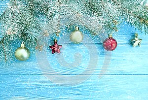 Christmas tree branch seasonal vintage holiday frame , border decoration wooden background, snow