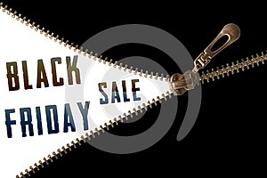 Black Friday sale text behind zipper