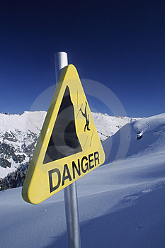Danger sign in mountain