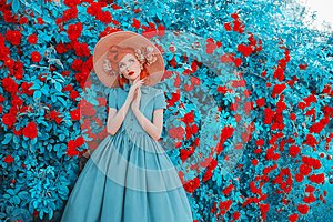 Valentines Day background. Spring rose flower garden. Sweet perfume. Trendy girl with red lips in dress. Gardening on farm.