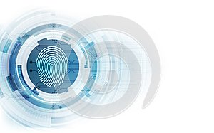 Fingerprint integrated in a printed circuit, releasing binary codes. fingerprint Scanning Identification System Security Concept.