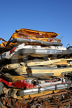 Stack of crushed cars