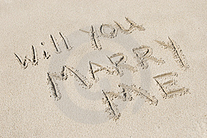 Will You Marry Me Written In Sand