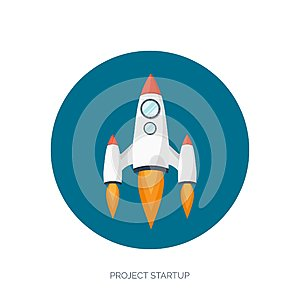 Flat rocket spaceship launch. Startup concept and project development.Space exploration.