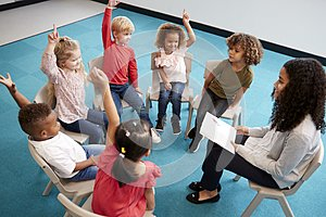 Young female school teacher reading a book to infant school children, sitting on chairs in a circle in the classroom raising hands