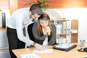 Business Team Meeting Discussion Working Concept man and woman in office