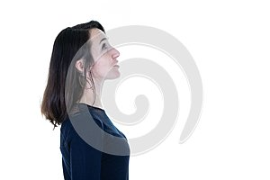 Pretty woman profile portrait with empty copy space and white background