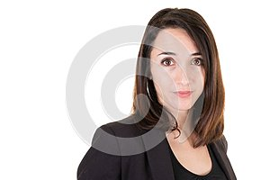 Confident beautiful businesswoman being ready to work in white wall background