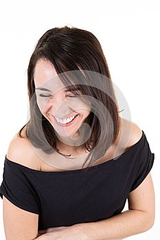 Portrait pretty woman laughs happy fun pleasure and joy