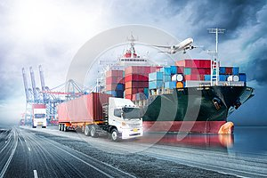 Logistics import export background and transport industry of Container Cargo freight ship