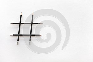 Social media and creativity concepts with Hashtag sign made of pencil.digital marketing images