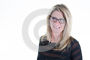 Cheerful blonde woman with eyes glasses with blanck copy space in white background