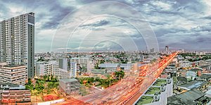 The path of capital`s prosperity, Bangkok`s residential landscape Panorama view