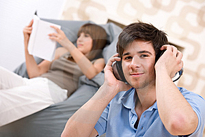 Student - Teenager man relaxing with headphones