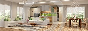 Modern house interior of living room and a kitchen in beige and green colors.