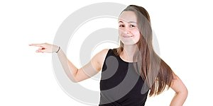 Portrait of smiling business woman pointing finger side
