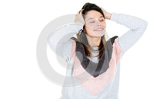 Pretty girl with strong headache on white background