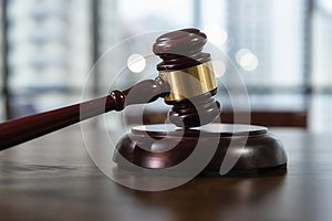 Court of Justice, Law and Rule Concept, Judge`s Gavel on The Table