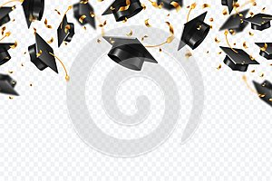 Graduation caps confetti. Flying students hats with golden ribbons isolated. University, college school education vector