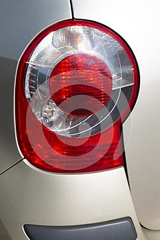 Detail view of modern red car rear light