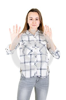 Screaming woman showing stop symbol no with palm hand