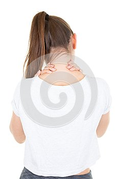 Closeup view tired slim young woman female massaging her neck