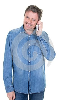 Handsome mature man with mobile phone in white background