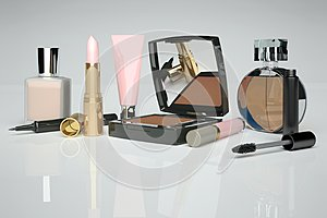 Skin care and makeup are located on the gray background. Isolated