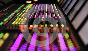 Professional DJ sound mixer. Professional Recording Mixer Console Broadband telecommunication. blurred background.