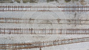 Four train tracks from above