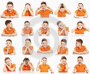 Set of emotional images of a boy in an orange T-shirt, collage, close-up, white background