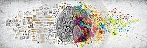 Left right human brain concept, textured illustration. Creative left and right part of human brain, emotial and logic