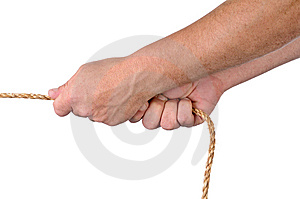 Male hands pulling on rope