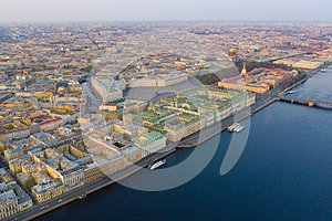 Aerial view cityscape of city center, Palace square, State Hermitage museum (Winter Palace), Neva river. Saint Petersburg skyline
