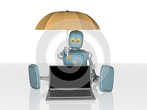 Robot with umbrella protects laptop.3d render