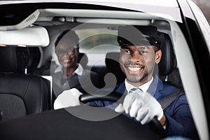 Close-up Of Happy Male Chauffeur Driving Car