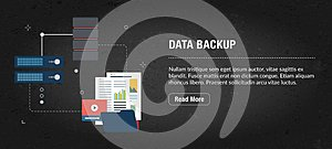 Data backup banner internet with icons in vector