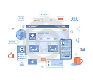 Social media network, online internet communication. Website page social Interface. Mobile and computer user screens, home page.