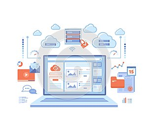 Cloud computing and web services, technology, data storage, hosting, connection. Login page and password on laptop screen, server,