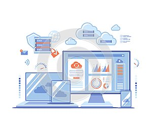Cloud Technology Services Data Center Connection Hosting Server Database Synchronize Storage Login page and password on monitor