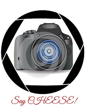 A realistic modern camera in the frame of the camera\'s diaphragm. Concept photography, vocations, photo business