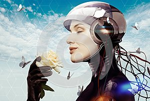Female robot with flower