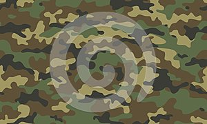 Camouflage seamless pattern. Trendy style camo, repeat. Vector illustration. Khaki texture, military army green hunting