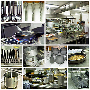 Hotel kitchen collage