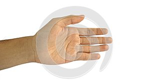 A man`s hand with a symbol on white background, male hand`s shows hand shake gesture