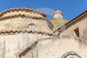 Colorful tiles on the roof in Santa Severina, Calabria, Italy
