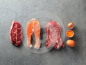 Carnivore or keto diet, zero or low carb concept, top view